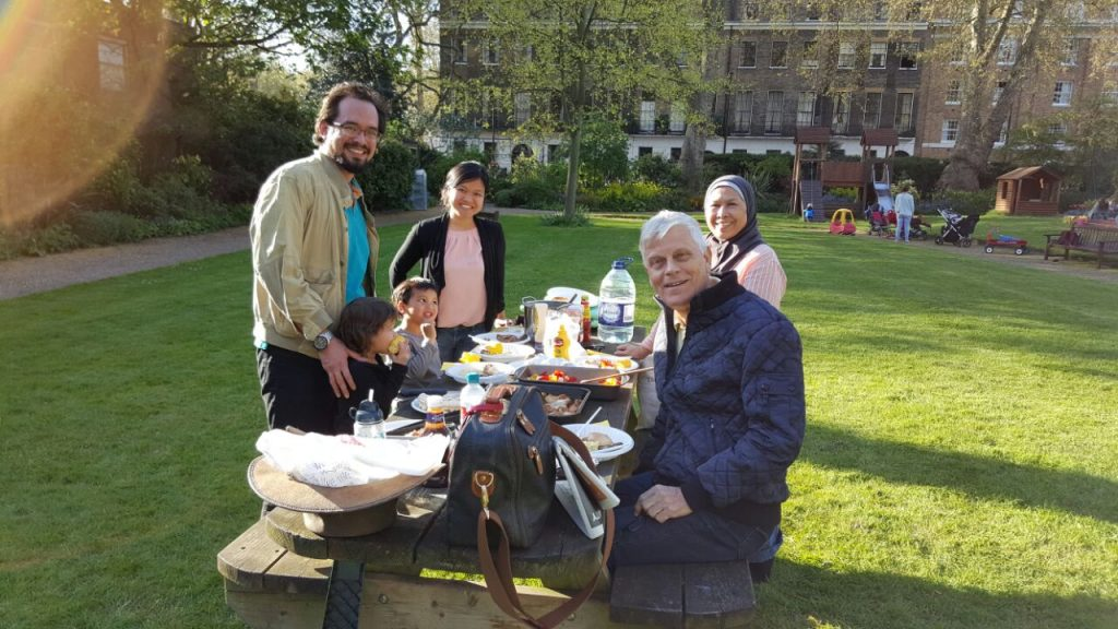 Picnic in the garden with the Sinclairs. Photo republished with permission.