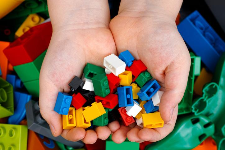 Lego Bricks in child hands