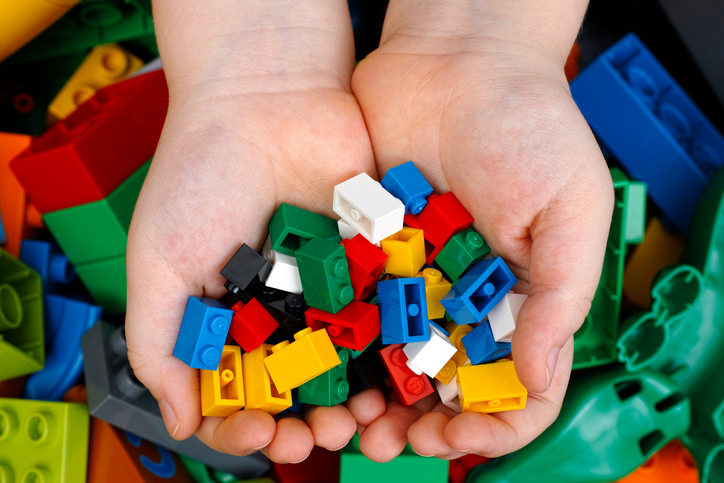 Lego Bricks in child hands